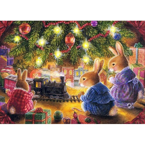 Christmas Mice Playing (50 x 70 actual picture size)